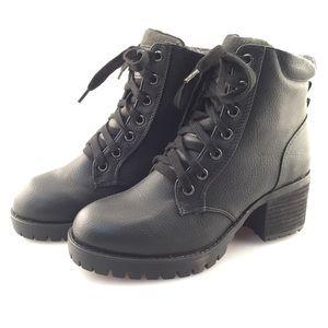 NWT Mia Jonel Black Heeled Combat Boots